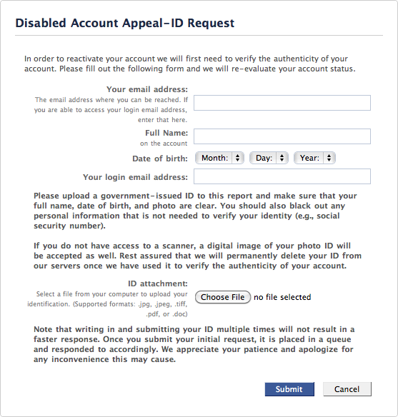 Facebook: Disabled Account Appeal - ID Request | Rixstep's The
