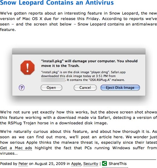 FUD: On Snow Leopard Anti-Malware | Rixstep Learning Curve